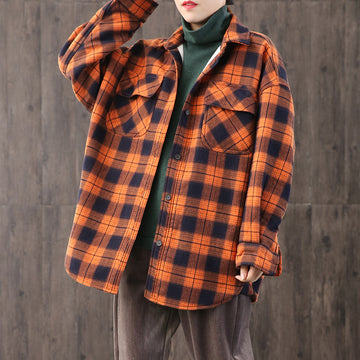 Casual Loose Plaid Brushed Shirt