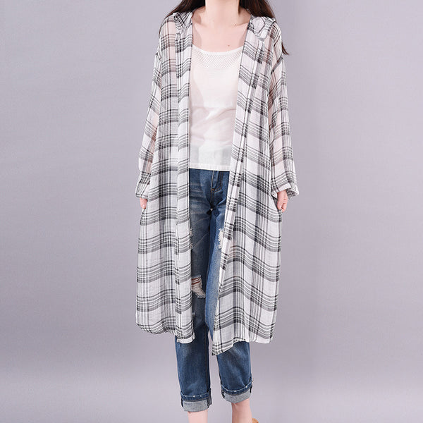 Casual Loose Plaid Hooded Long Sleeve Coat