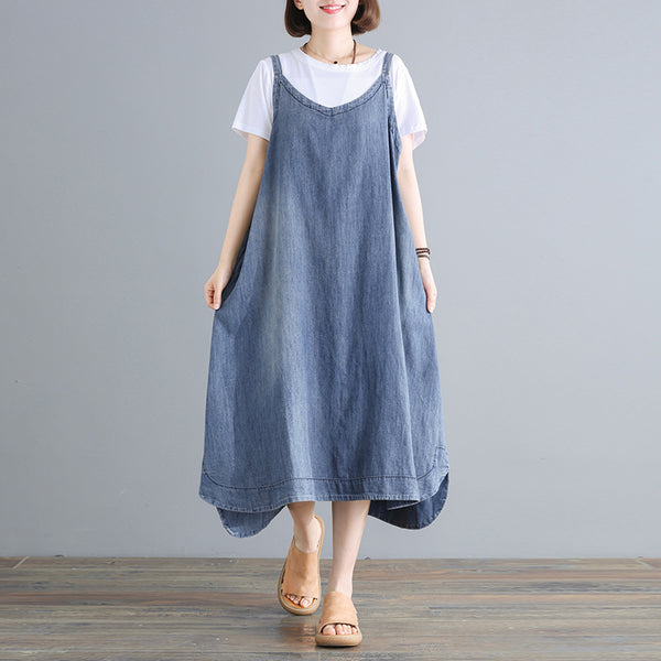 Casual Loose Solid Color Denim Suspender Dress