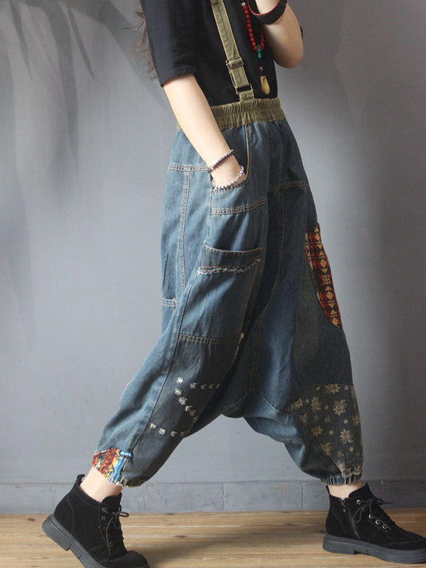 Casual Pathwork Loose Low-cut Crotch Pants