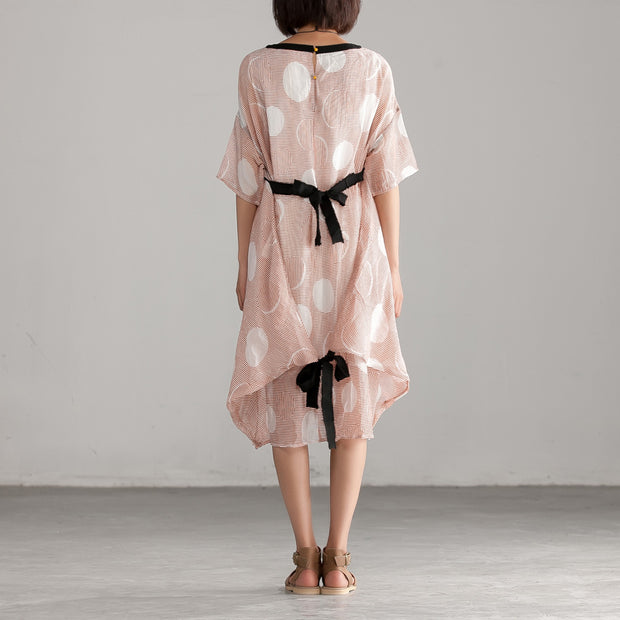 Casual Pink Summer Linen Cotton Loose Dress