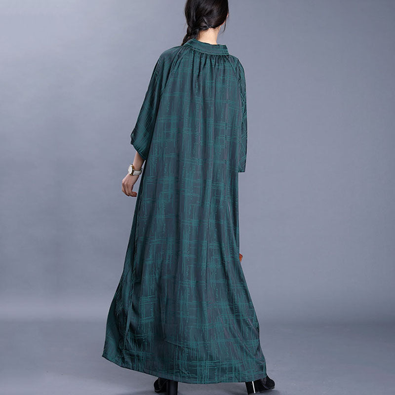 Casual Plaid Lacing Loose Dress