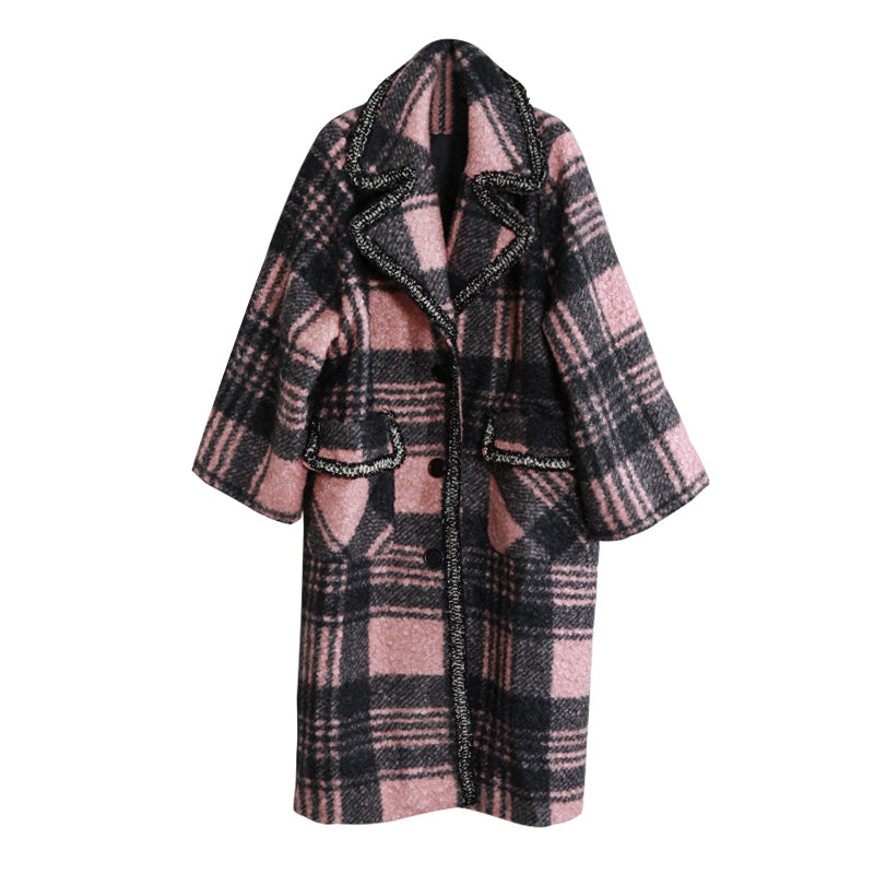 Casual Plaid Loose Tailored Collar Woolen Coat