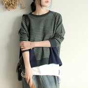 Buykud Casual Plaid Patchwork Round Collar Knitted Shirt