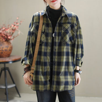 Casual Plaid Spring Turn-down Collar Shirt