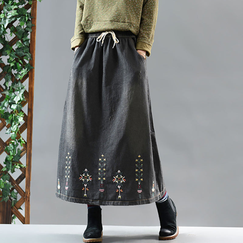 Casual Plant Embroidery Denim Skirt