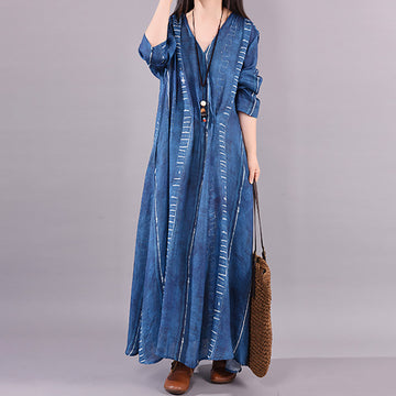 Casual Pleated Spring V-neck Dress