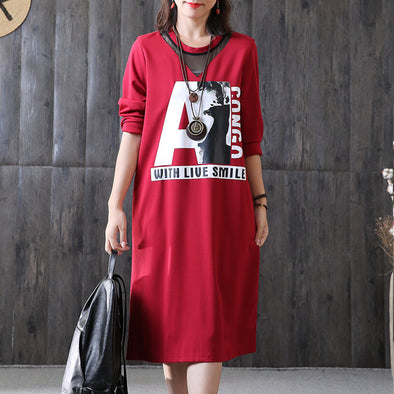 Women Autumn Casual Letter Print Pullover Dress