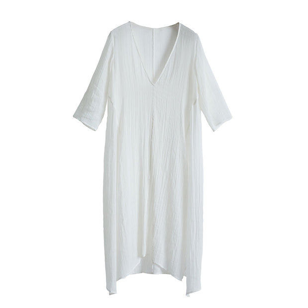 Casual Plus Size Pleated V-Neck Asymmetrical A-Line Dress