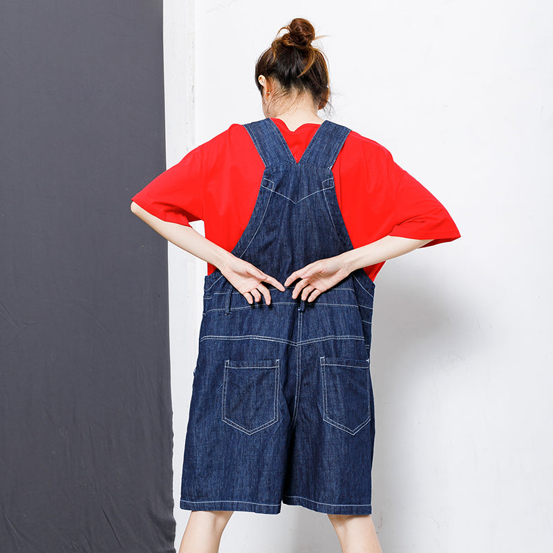 Casual Pockets Button Cotton Women Overalls