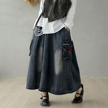 Casual Pockets Embroidery Denim Skirt