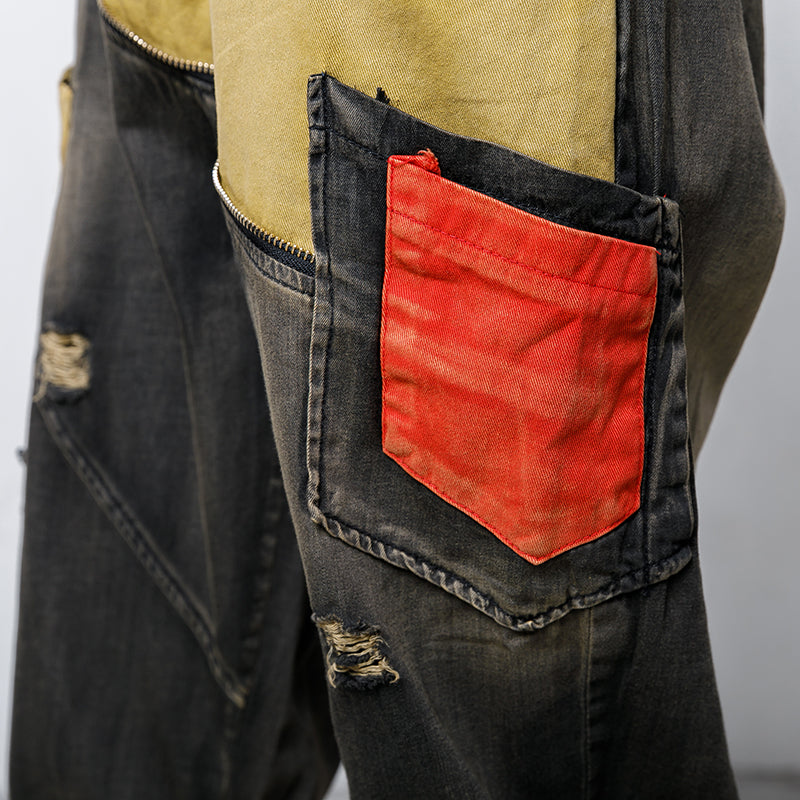 Casual Pockets Spliced Elastic Waist Jeans