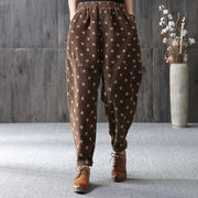 Casual Polka Dot Plus Velvet Harem Pants