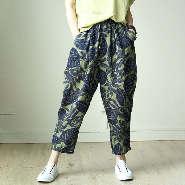 Casual Print Ankle-Length Lantern Cross-Pants