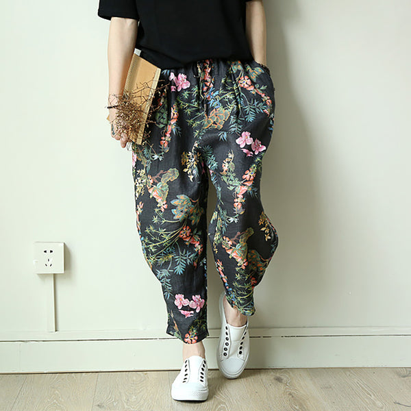 Casual Print Lantern  Ankle-Length Cross-Pants