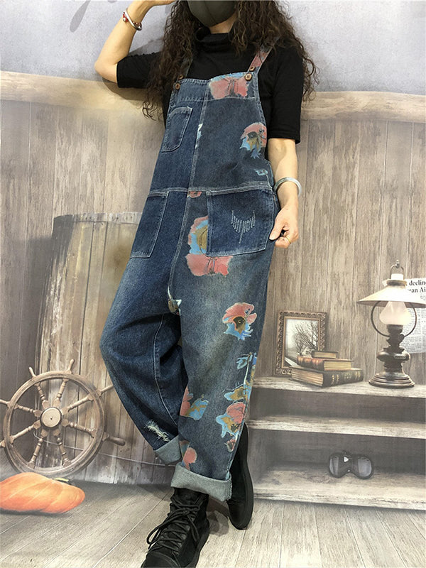 Casual Printed Frayed Denim Jumpsuits