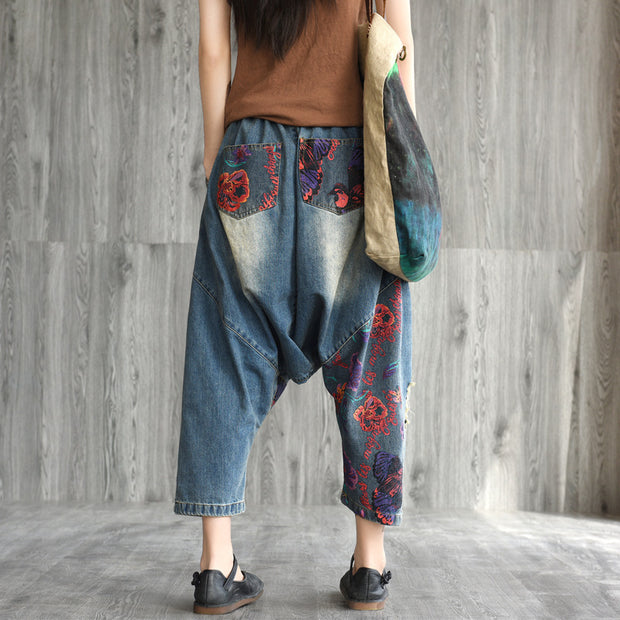 Casual Printed Frayed Low Crotch Jeans
