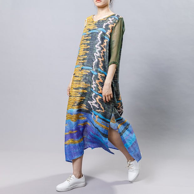 Casual Printed Spliced Midi Dress With Belt
