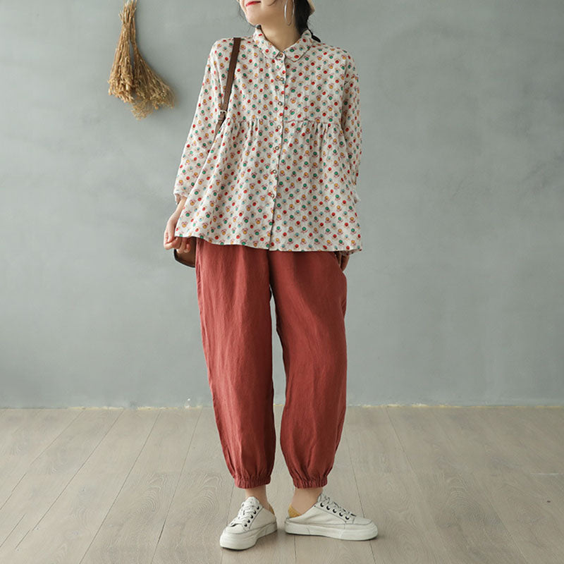 Casual Printed Stithing Loose Linen Shirt