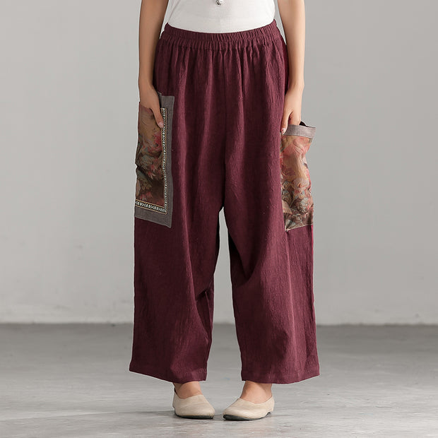 Casual Printing Linen Cotton Women Wine Red Pants