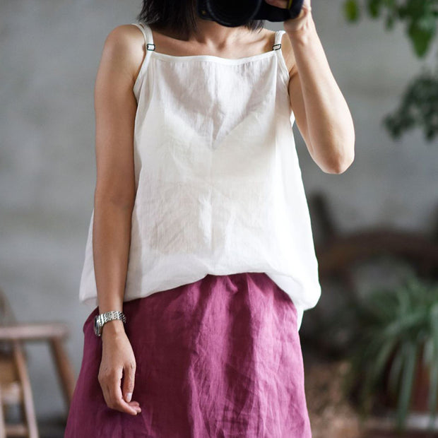 Casual Pure Color Loose Ramie Camisole