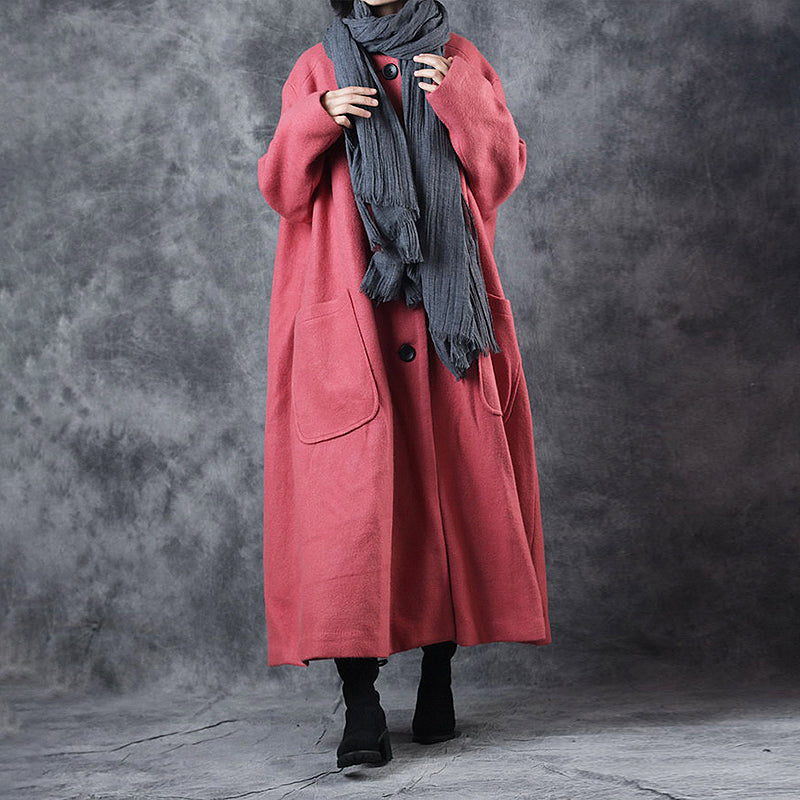Casual Pure Color Winter Loose Woolen Coat