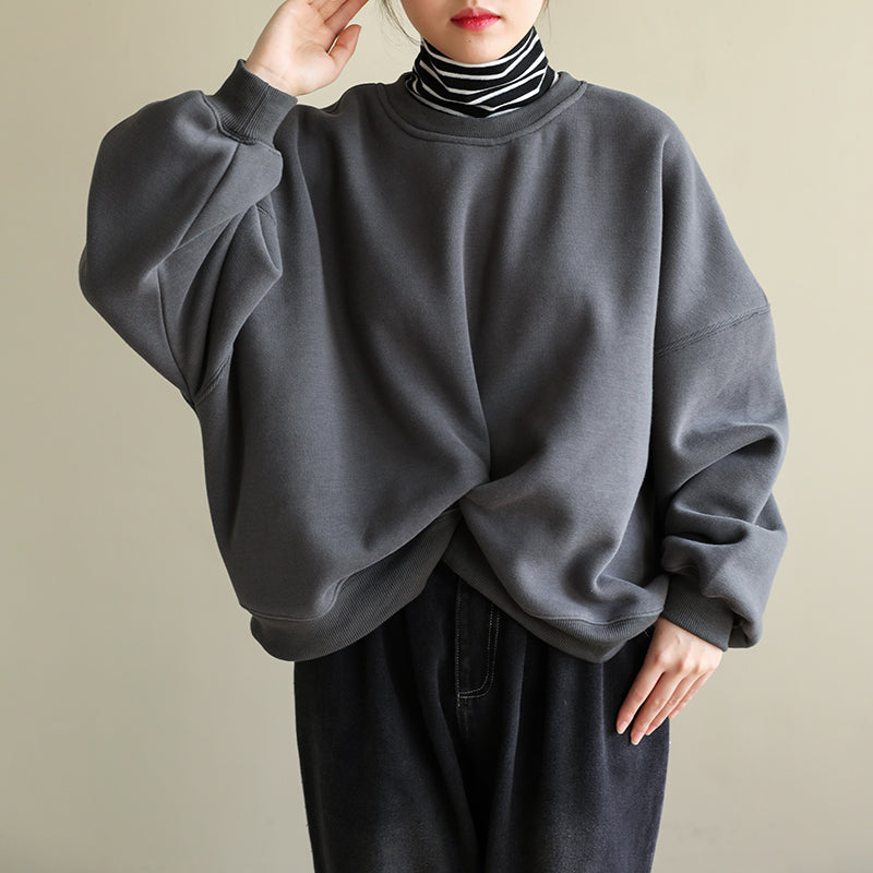 Casual Pure Color Wrinkle Fleece Sweatshirt