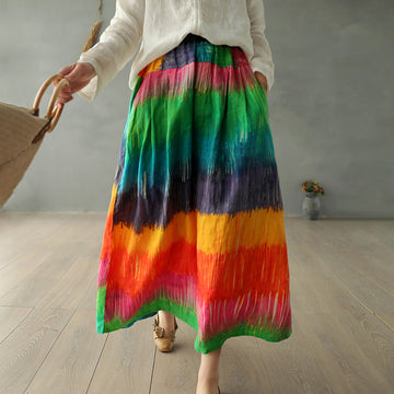 Casual Rainbow Stripe Linen Skirt