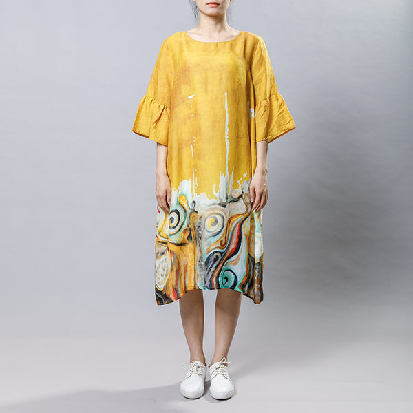 Casual Ramie Round Neck Print Women Dress