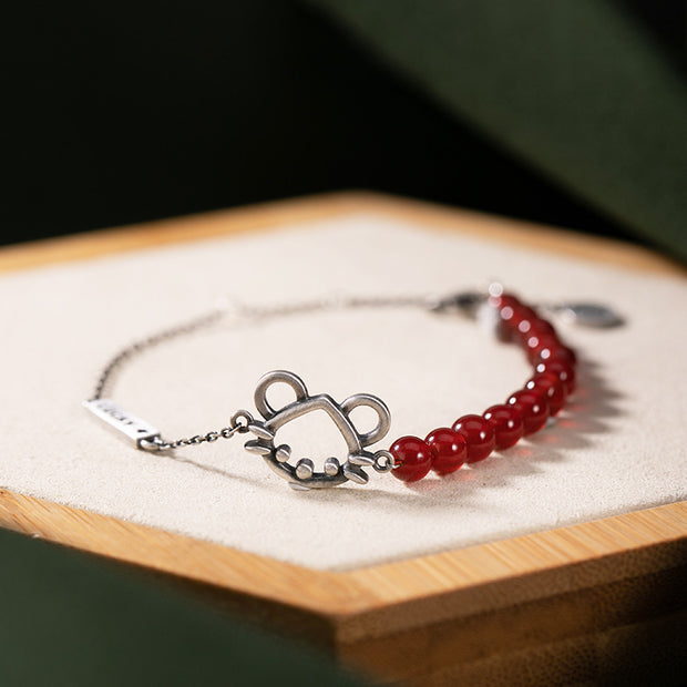 Casual Rat And Red Agate Bracelet