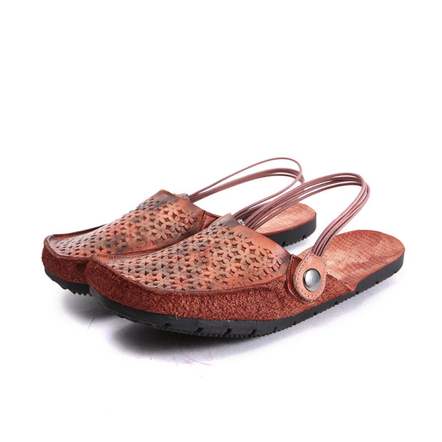 Casual Retro Gradient Color Hollow Leather Sandals