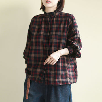 Casual Retro Plaid Stand Collar Shirt