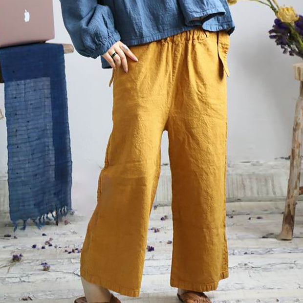 Casual Retro Pure Color Loose Straight Pants