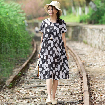 Casual Round Neck Short Sleeve Circular Dress