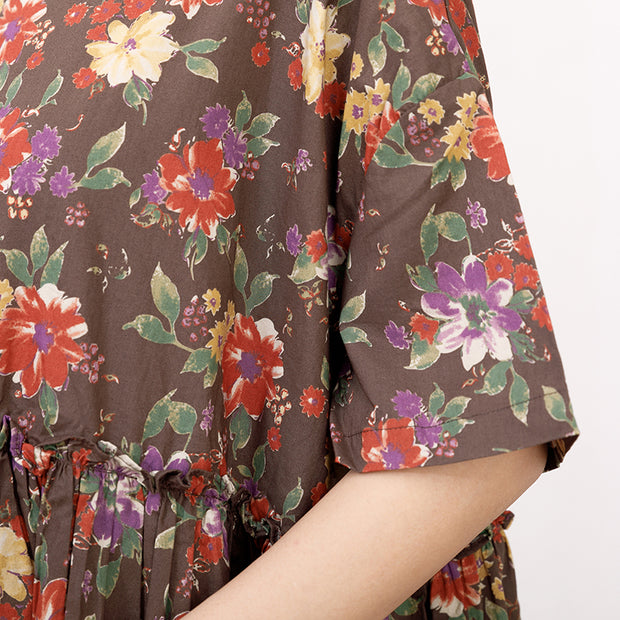Casual Short Sleeve Pockets Floral Lacing Pleated Dress