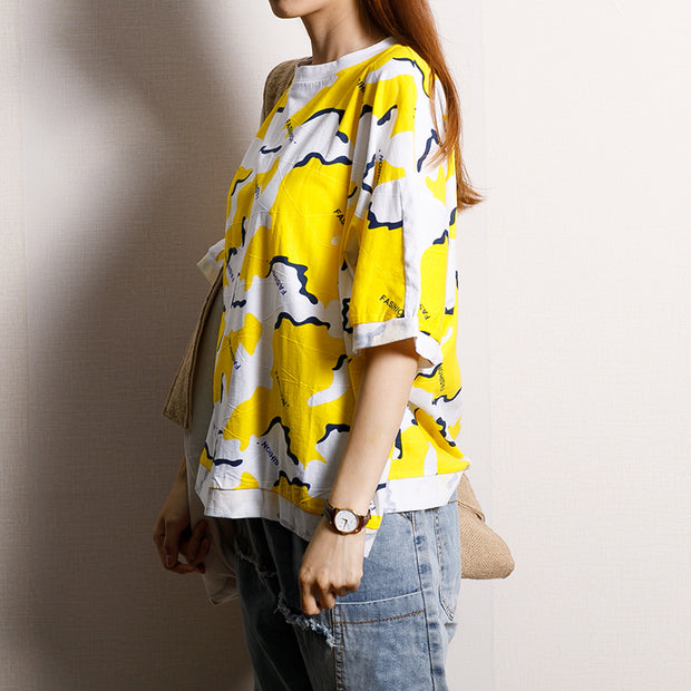 Casual Short Sleeve Round Neck Cotton Blouse