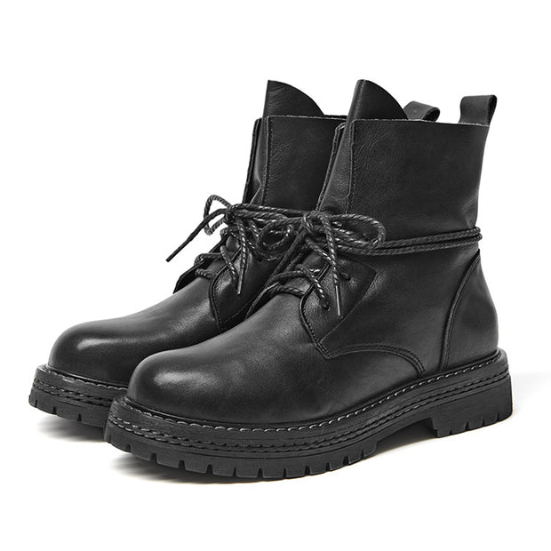 Casual Simple Lace-Up Leather Martin Boots