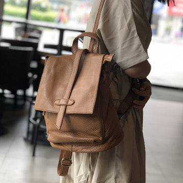 Casual Simple Travel Soft Leather Backpack