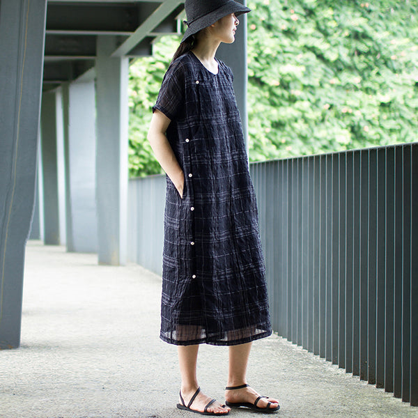 Casual Single Breasted Plaid Loose Comfortable Dress