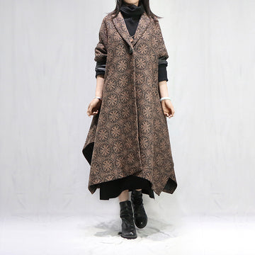 Casual Single Button Irregular Loose Woolen Coat