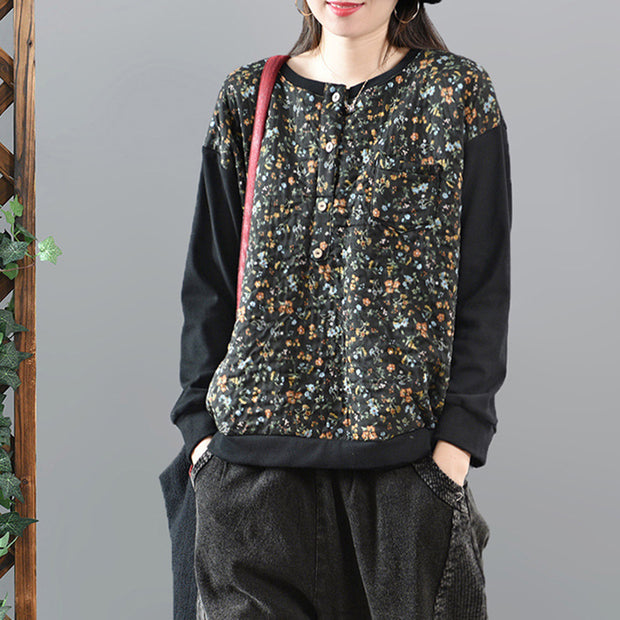 Casual Sleeve Stitching Floral Printed Sweatshirt