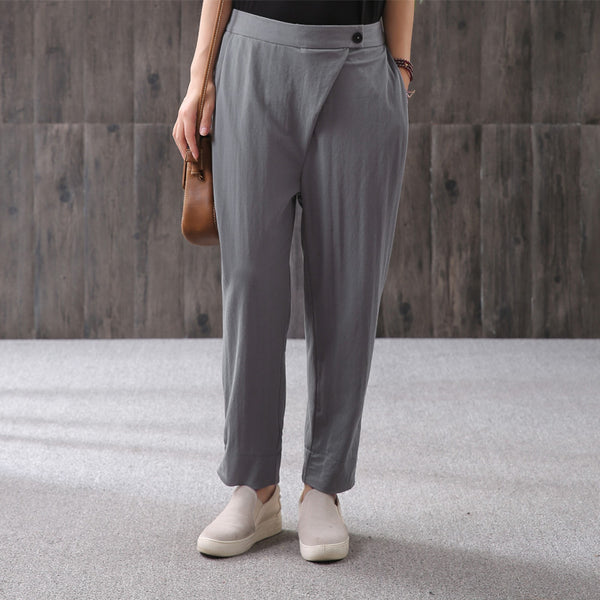 Casual Solid Button Ankle-Length Straight Pants