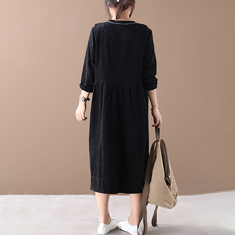 Casual Solid Color Corduroy Sleeveless Dress