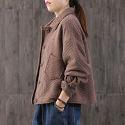 Casual Solid Color Cotton Short Coat