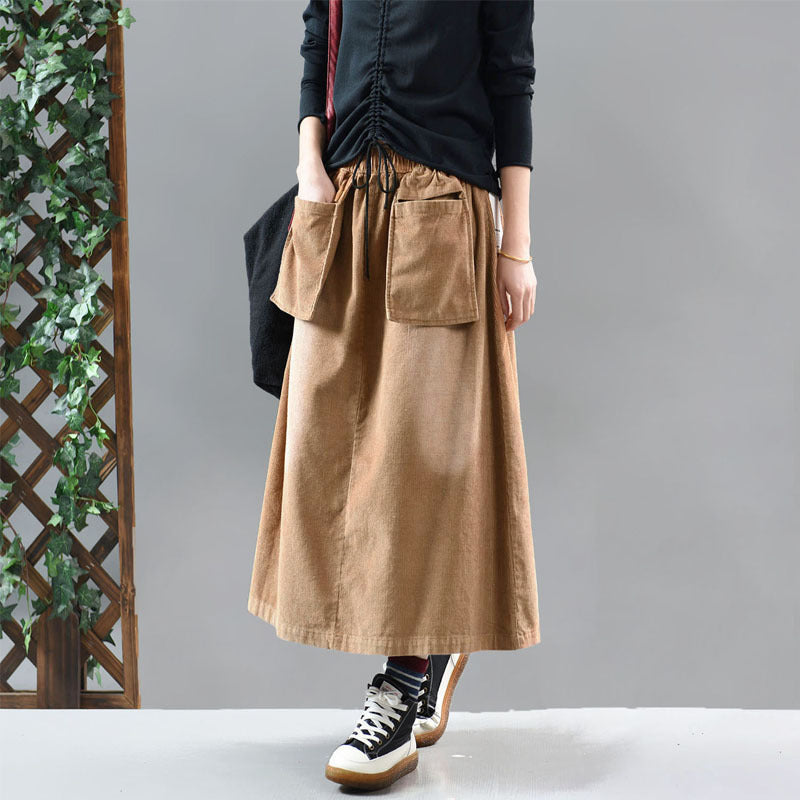 Casual Solid Color Elastic Waist Corduroy Skirt