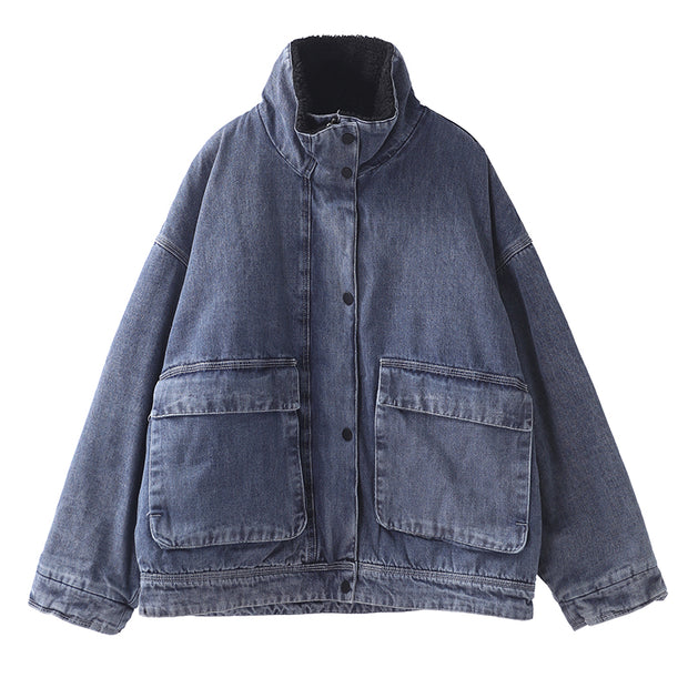 Casual Solid Color Fleece Denim Jacket