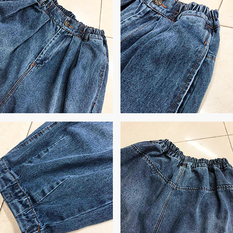 Casual Solid Color Loose Blue Jeans