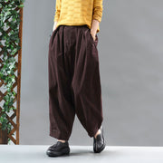 Casual Solid Color Pleated Comfortable Harem Pants