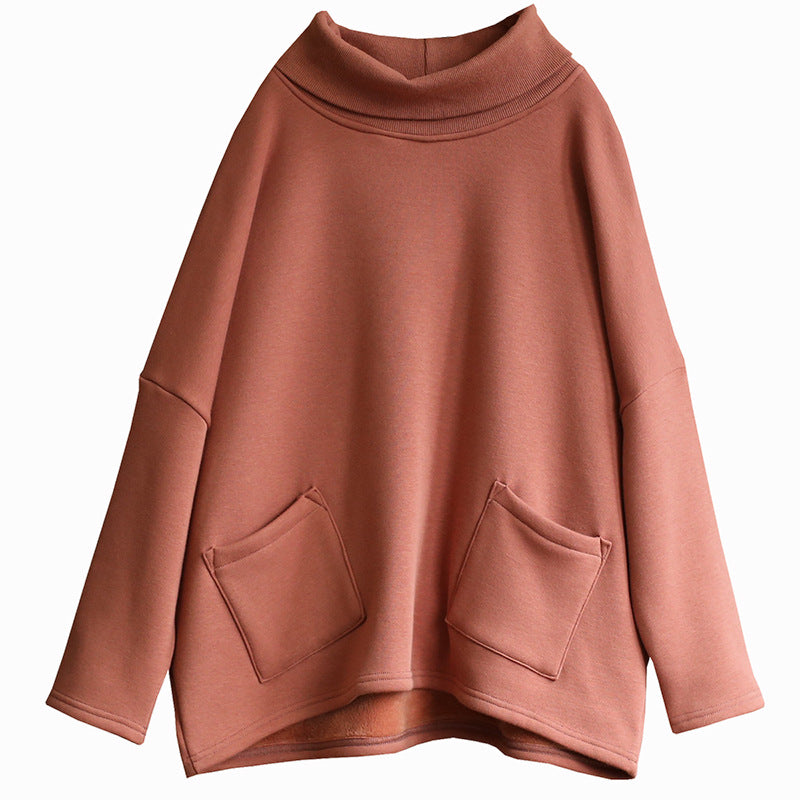 Casual Solid Color Plus Velvet Comfortable Sweatshirt
