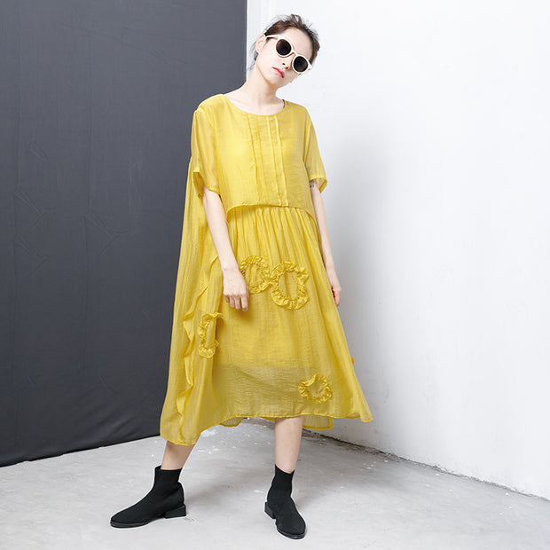 Casual Solid Short Sleeve Irregular Dress